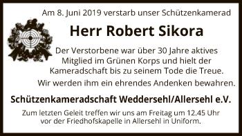 Traueranzeige für Robert Sikora vom 14.06.2019 aus Uelzen