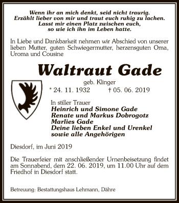 Traueranzeige für Waltraut Gade vom 07.06.2019 aus Uelzen