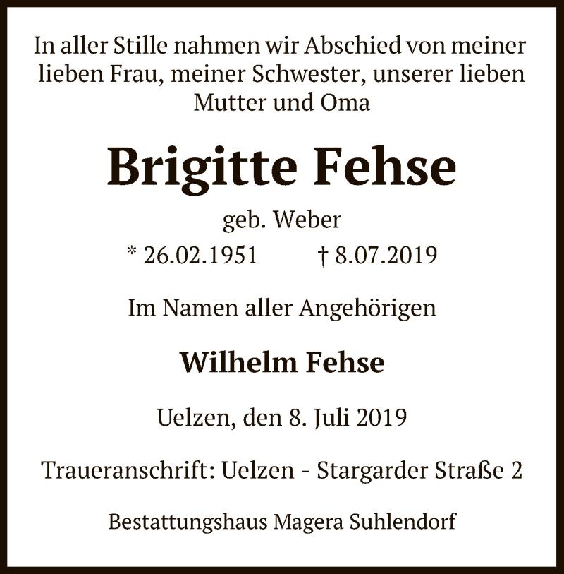 Traueranzeige für Brigitte Fehse vom 10.07.2019 aus Uelzen