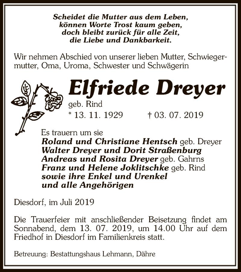 Traueranzeige für Elfriede Dreyer vom 09.07.2019 aus Uelzen