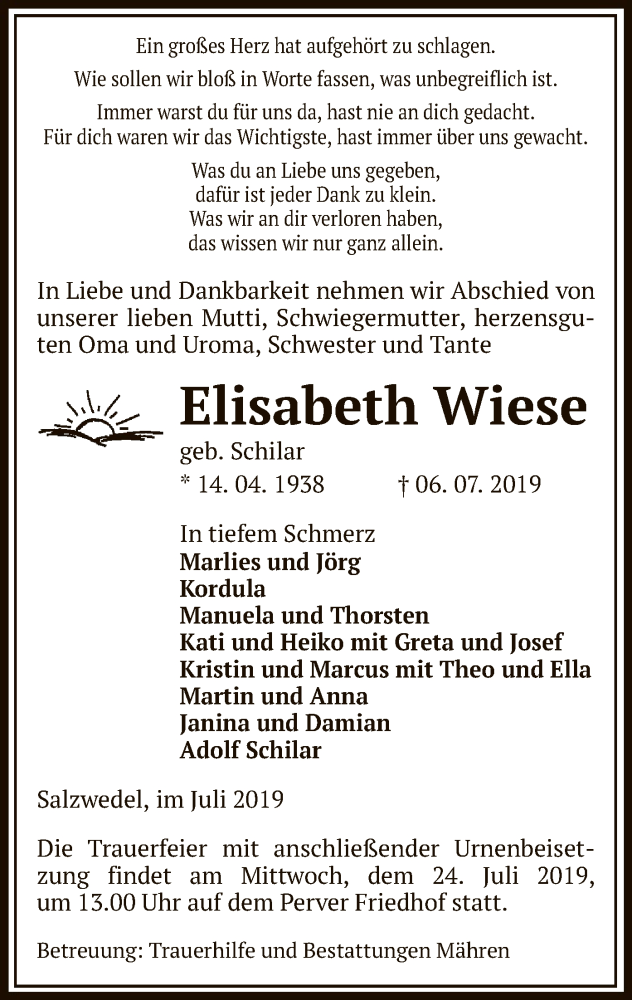 Traueranzeige für Elisabeth Wiese vom 10.07.2019 aus Uelzen