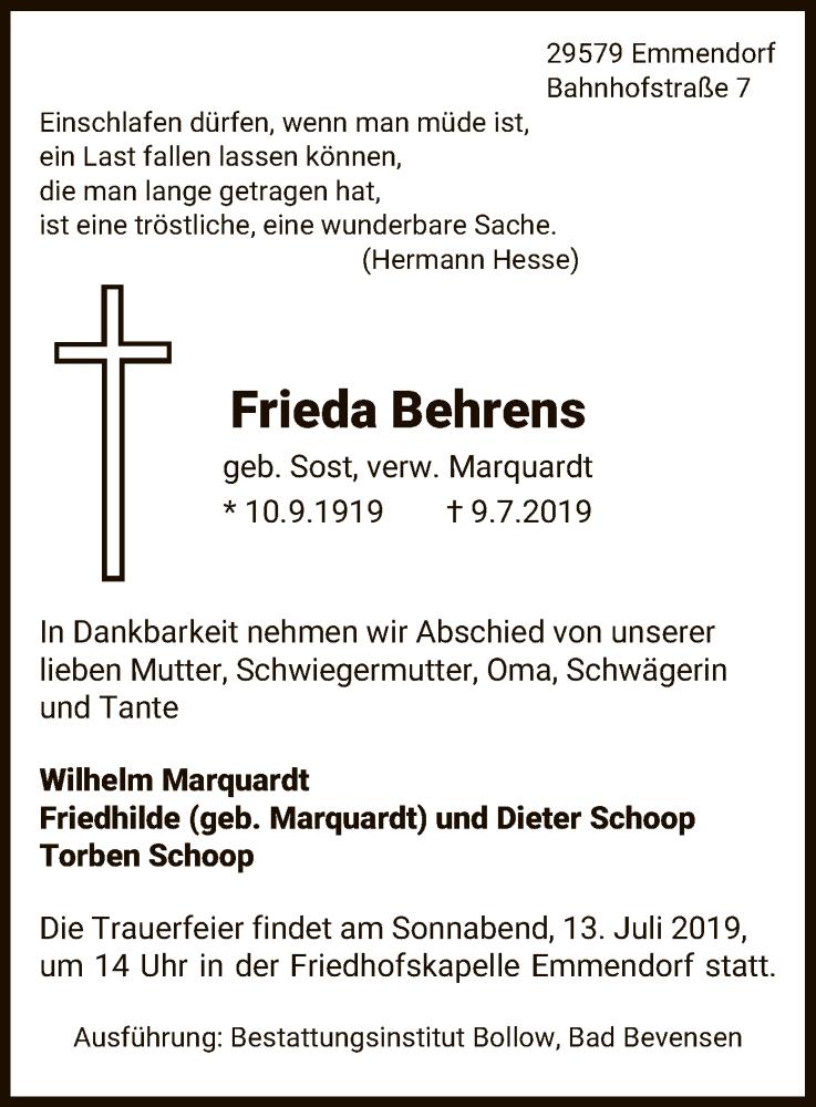 Traueranzeige für Frieda Behrens vom 11.07.2019 aus Uelzen