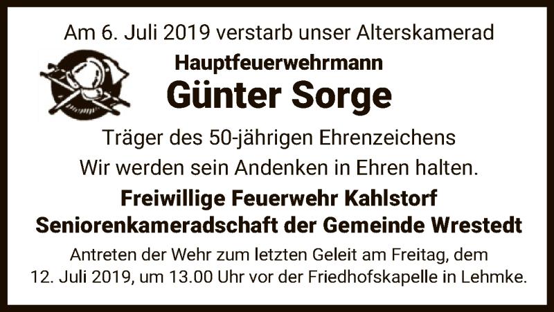 Traueranzeige für Günter Sorge vom 11.07.2019 aus Uelzen