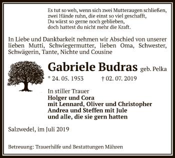 Traueranzeige für Gabriele Budras vom 04.07.2019 aus Uelzen