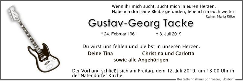 Traueranzeige für Gustav-Georg Tacke vom 06.07.2019 aus Uelzen