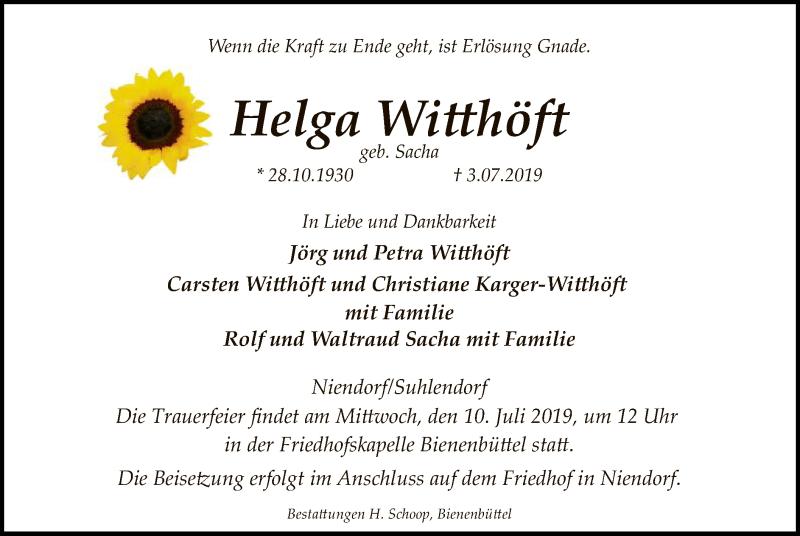 Traueranzeige für Helga Witthöft vom 06.07.2019 aus Uelzen