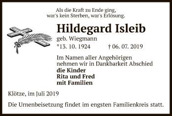 Traueranzeige für Hildegard Isleib vom 09.07.2019 aus Uelzen