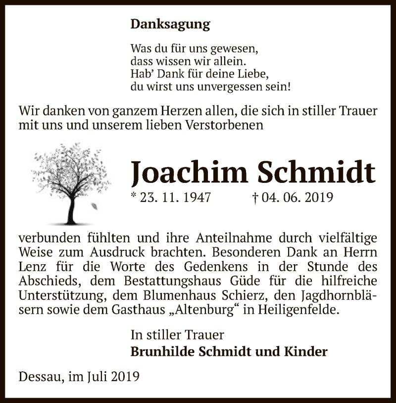 Traueranzeige für Joachim Schmidt vom 04.07.2019 aus Uelzen