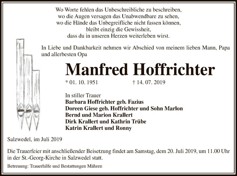 Traueranzeige für Manfred Hoffrichter vom 17.07.2019 aus Uelzen