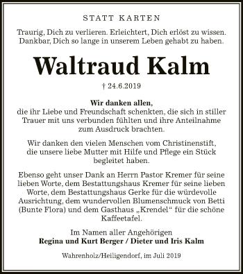 Traueranzeige von Waltraud Kalm von Uelzen