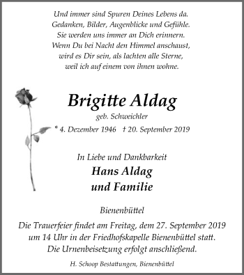 Traueranzeige von Brigitte Aldag von Uelzen