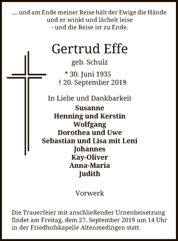 Traueranzeige von Gertrud Effe von Uelzen
