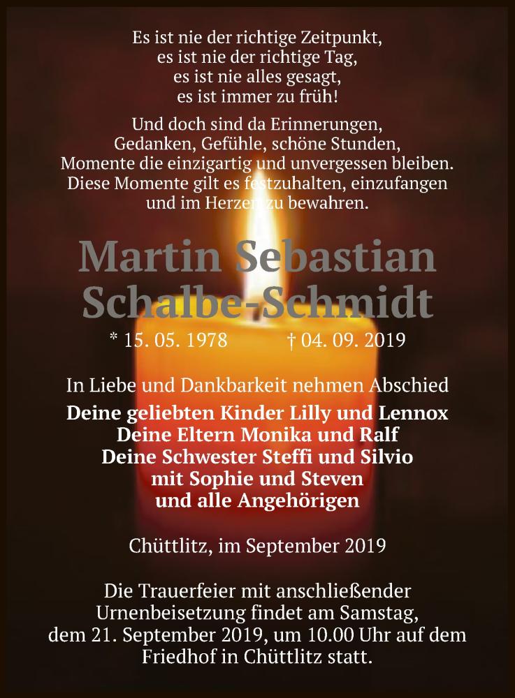 Traueranzeige für Martin Sebastian Schalbe-Schmidt vom 10.09.2019 aus Uelzen