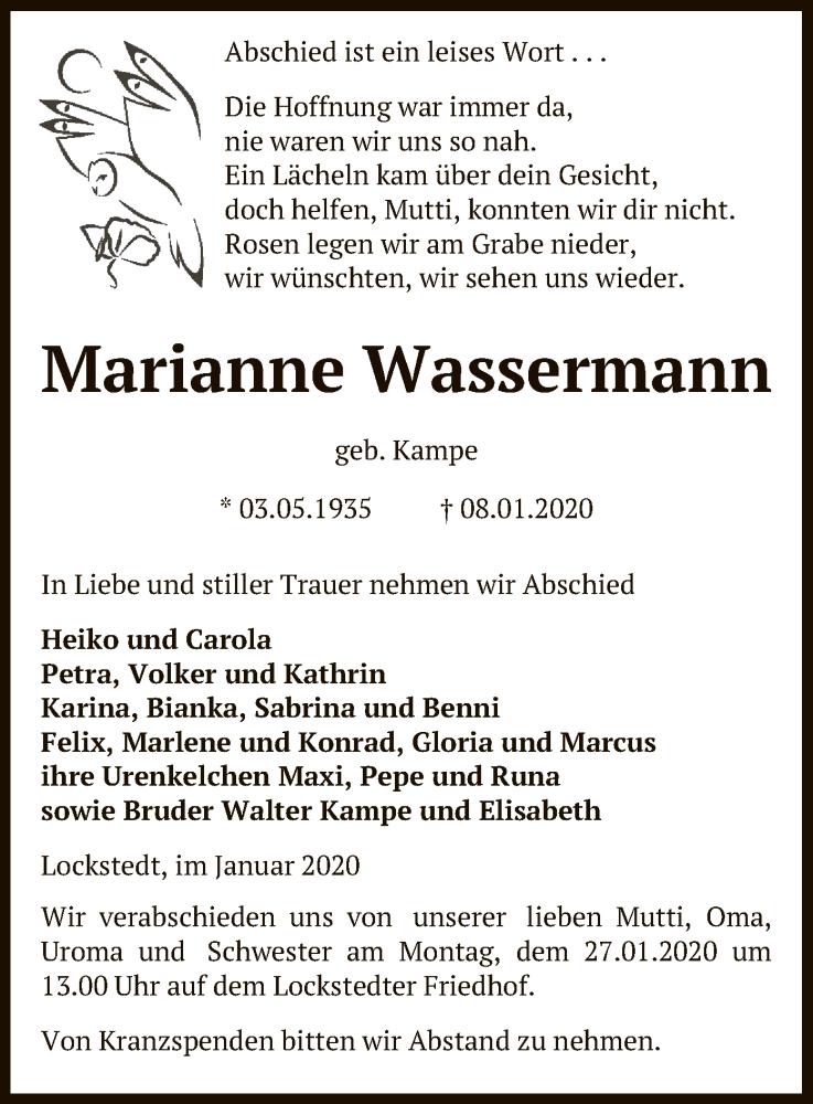 Traueranzeige für Marianne Wassermann vom 11.01.2020 aus Uelzen