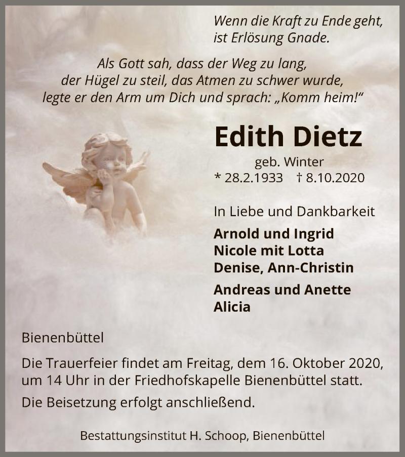 Traueranzeige für Edith Dietz vom 13.10.2020 aus UEL