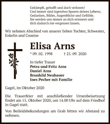 Traueranzeige von Elisa Arns von UEL