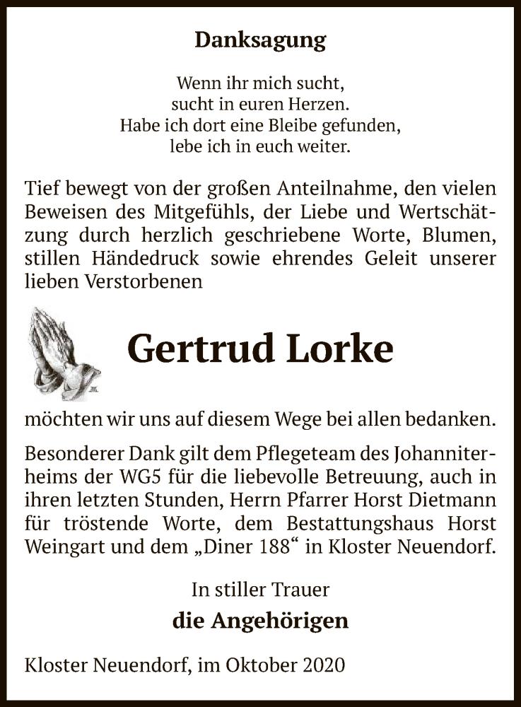 Traueranzeige für Gertrud Lorke vom 17.10.2020 aus UEL