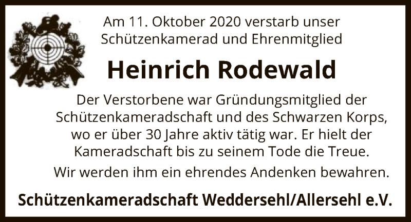 Traueranzeige für Heinrich Rodewald vom 16.10.2020 aus UEL