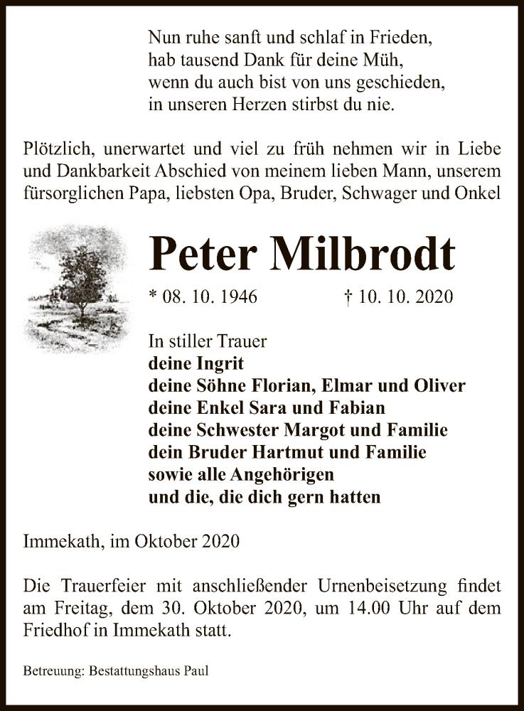 Traueranzeige für Peter Milbrodt vom 14.10.2020 aus UEL
