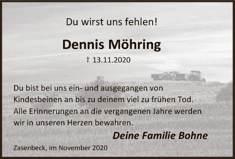 Traueranzeige für Dennis Möhring vom 21.11.2020 aus UEL
