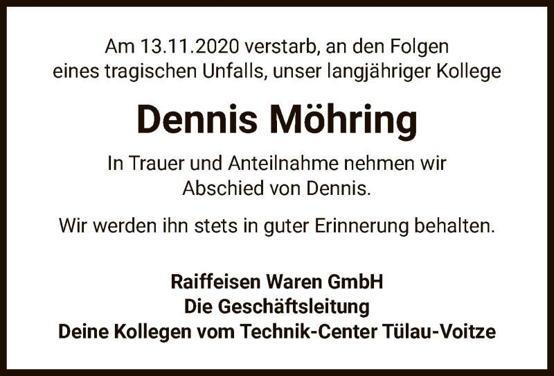 Traueranzeige für Dennis Möhring vom 19.11.2020 aus UEL