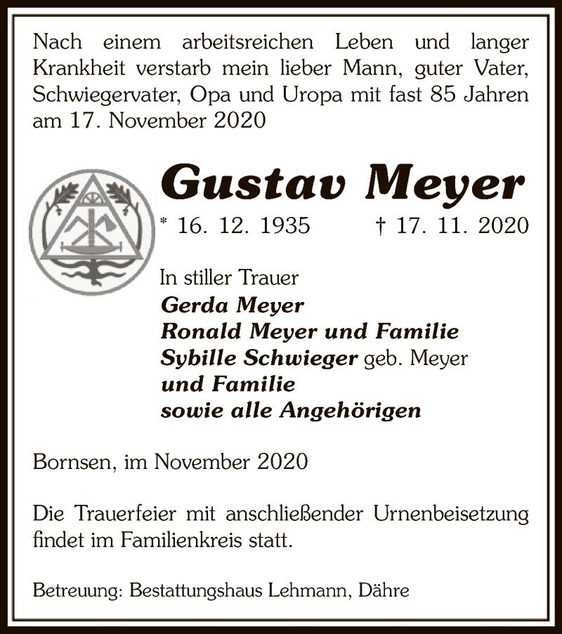 Traueranzeige für Gustav Meyer vom 20.11.2020 aus UEL