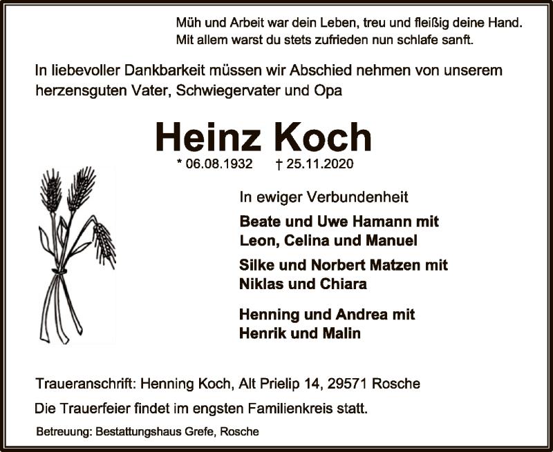 Traueranzeige für Heinz Koch vom 28.11.2020 aus UEL