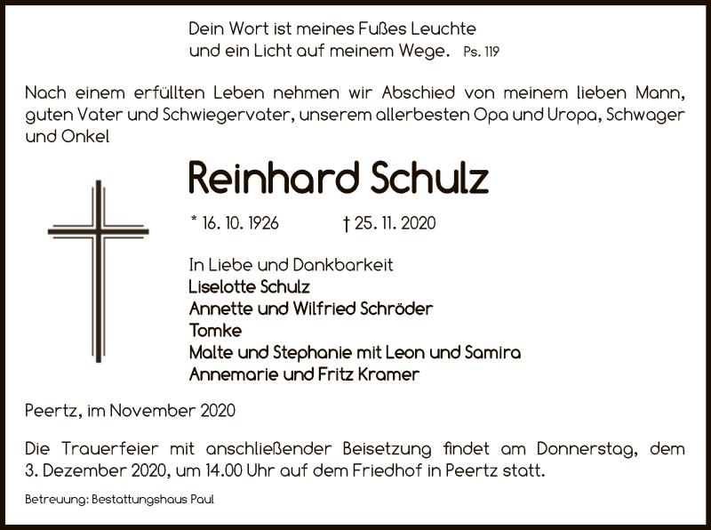 Traueranzeige für Reinhard Schulz vom 27.11.2020 aus UEL