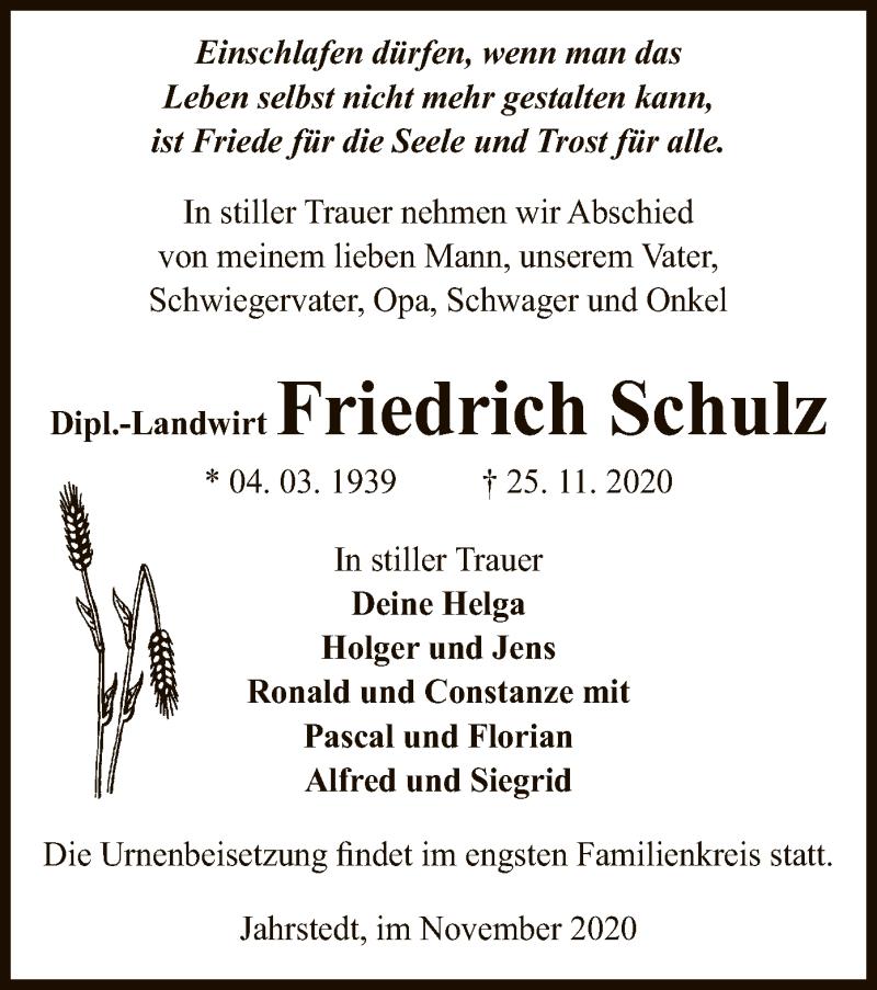 Traueranzeige für Friedrich Schulz vom 01.12.2020 aus UEL