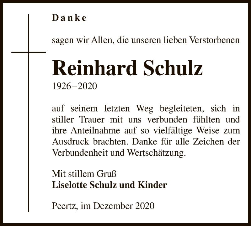 Traueranzeige für Reinhard Schulz vom 16.12.2020 aus UEL
