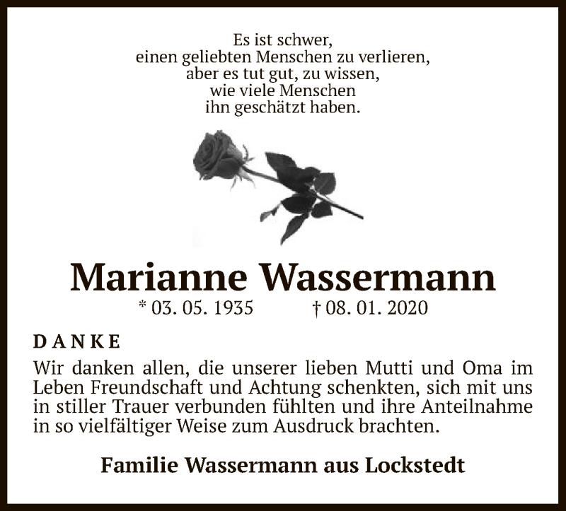 Traueranzeige für Marianne Wassermann vom 06.02.2020 aus Uelzen