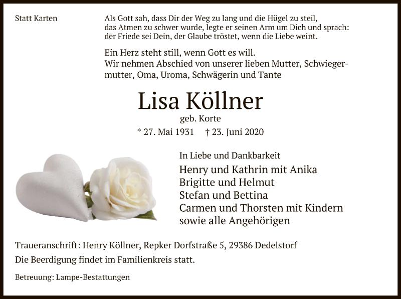 Traueranzeige für Lisa Köllner vom 25.06.2020 aus UEL