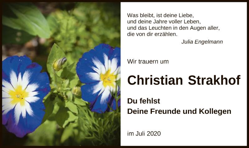 Traueranzeige für Christian Strakhof vom 25.07.2020 aus UEL