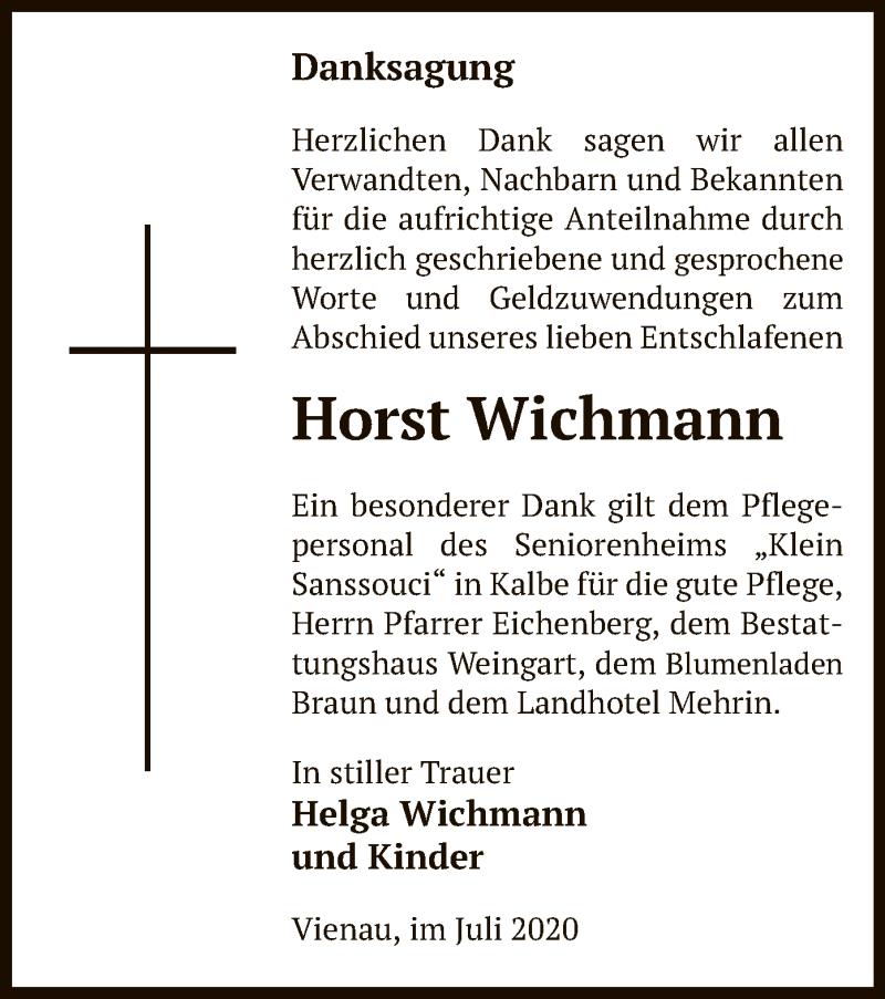 Traueranzeige für Horst Wichmann vom 14.07.2020 aus UEL