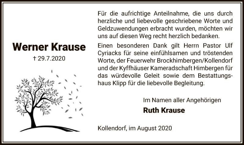 Traueranzeige für Werner Krause vom 22.08.2020 aus UEL