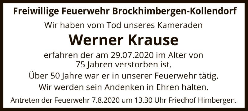 Traueranzeige für Werner Krause vom 01.08.2020 aus UEL