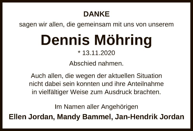 Traueranzeige für Dennis Möhring vom 12.01.2021 aus UEL