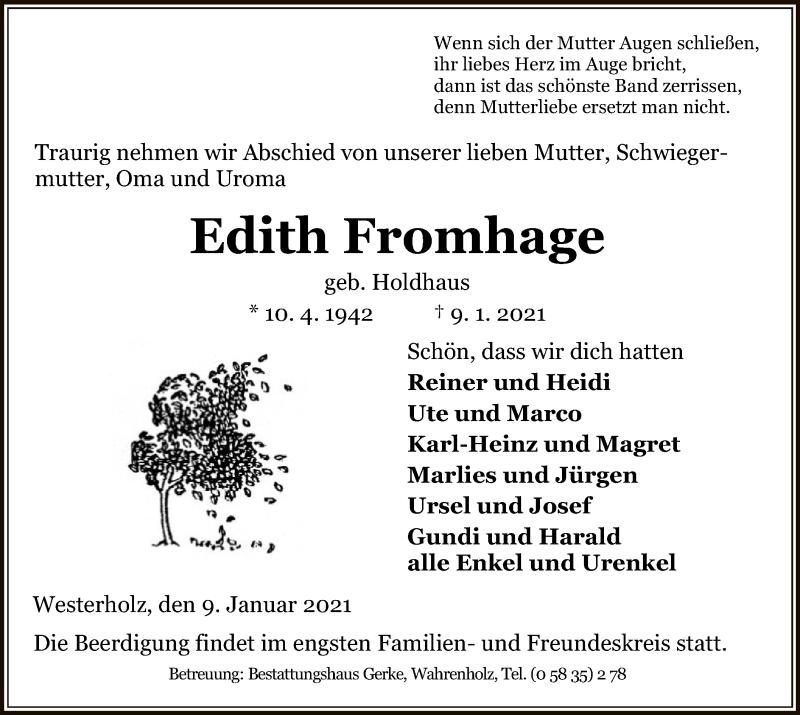 Traueranzeige für Edith Fromhage vom 13.01.2021 aus UEL