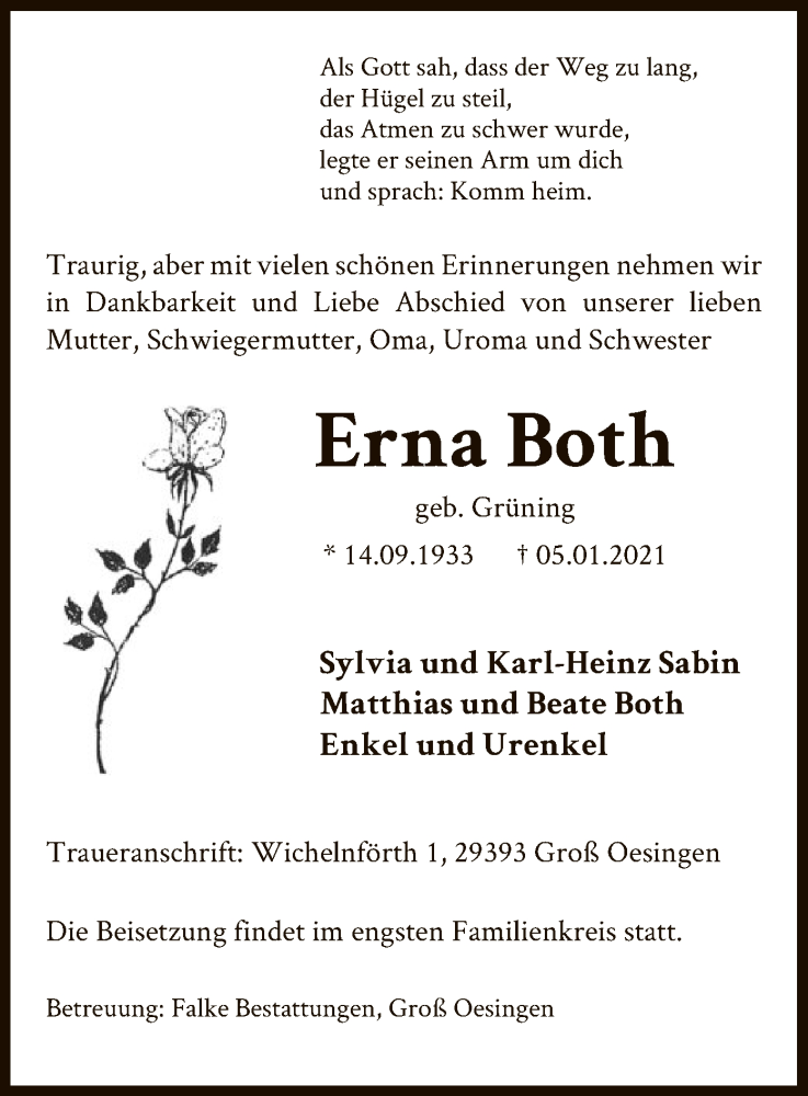 Traueranzeige für Erna Both vom 09.01.2021 aus UEL