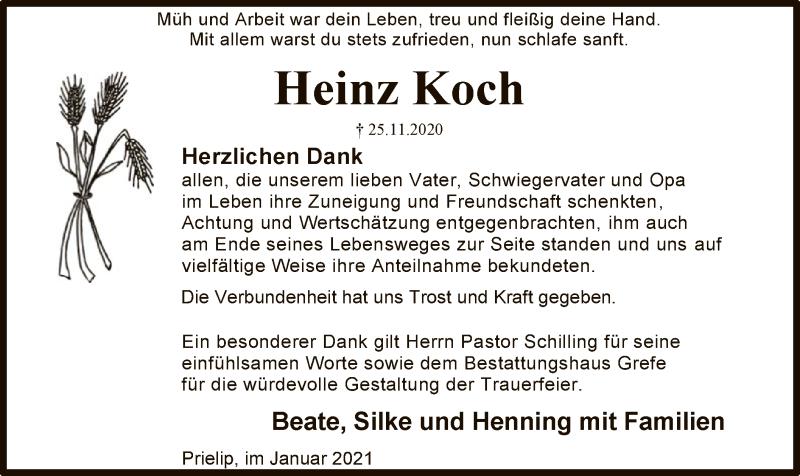 Traueranzeige für Heinz Koch vom 16.01.2021 aus UEL