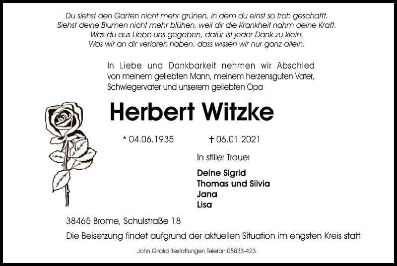 Traueranzeige für Herbert Witzke vom 09.01.2021 aus UEL