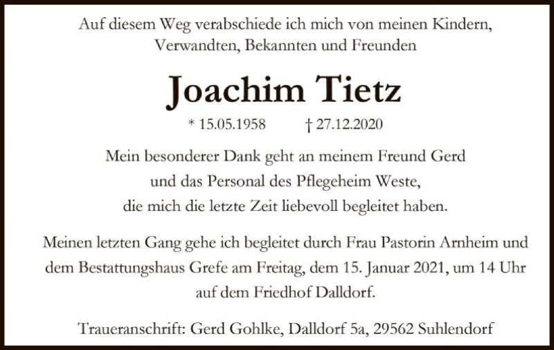 Traueranzeige für Joachim Tietz vom 02.01.2021 aus UEL