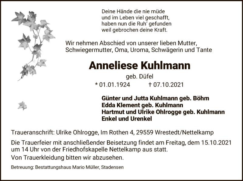 Traueranzeige für Anneliese Kuhlmann vom 13.10.2021 aus UEL