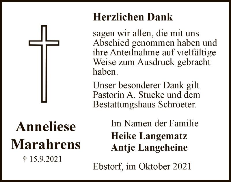 Traueranzeige für Anneliese Marahrens vom 02.10.2021 aus UEL
