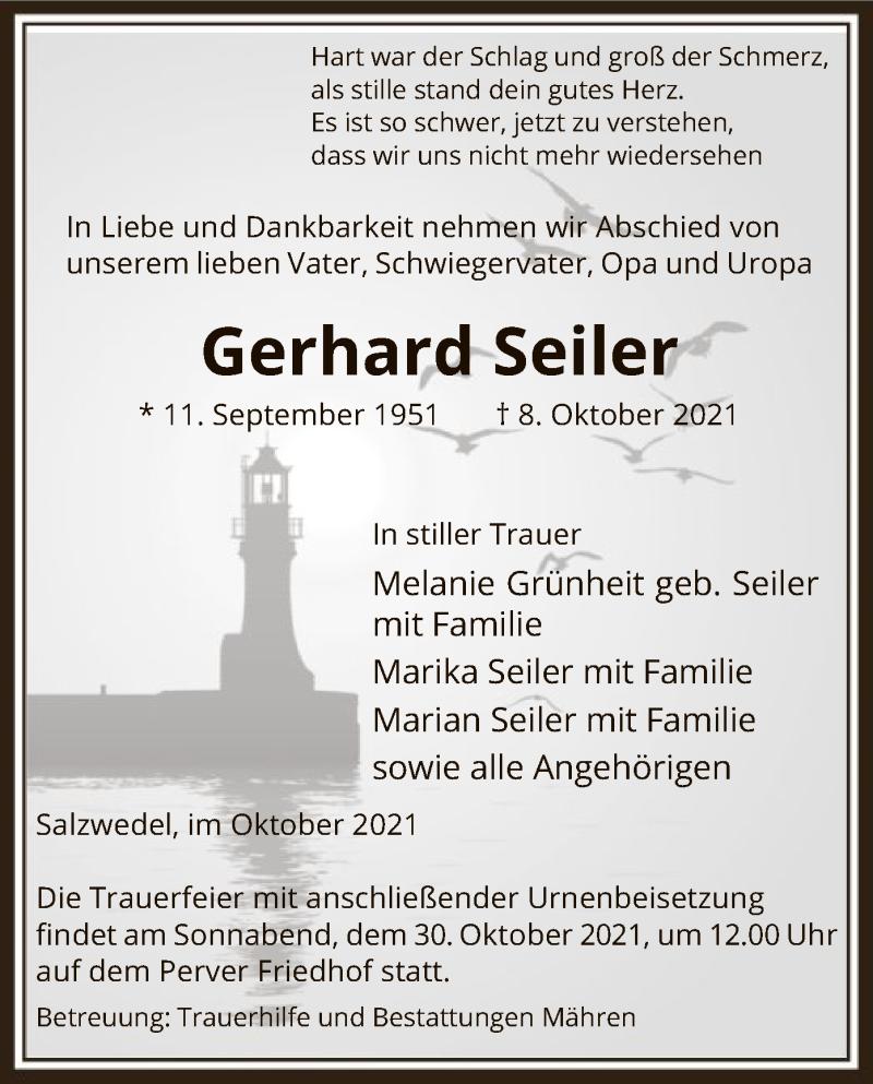 Traueranzeige für Gerhard Seiler vom 14.10.2021 aus UEL