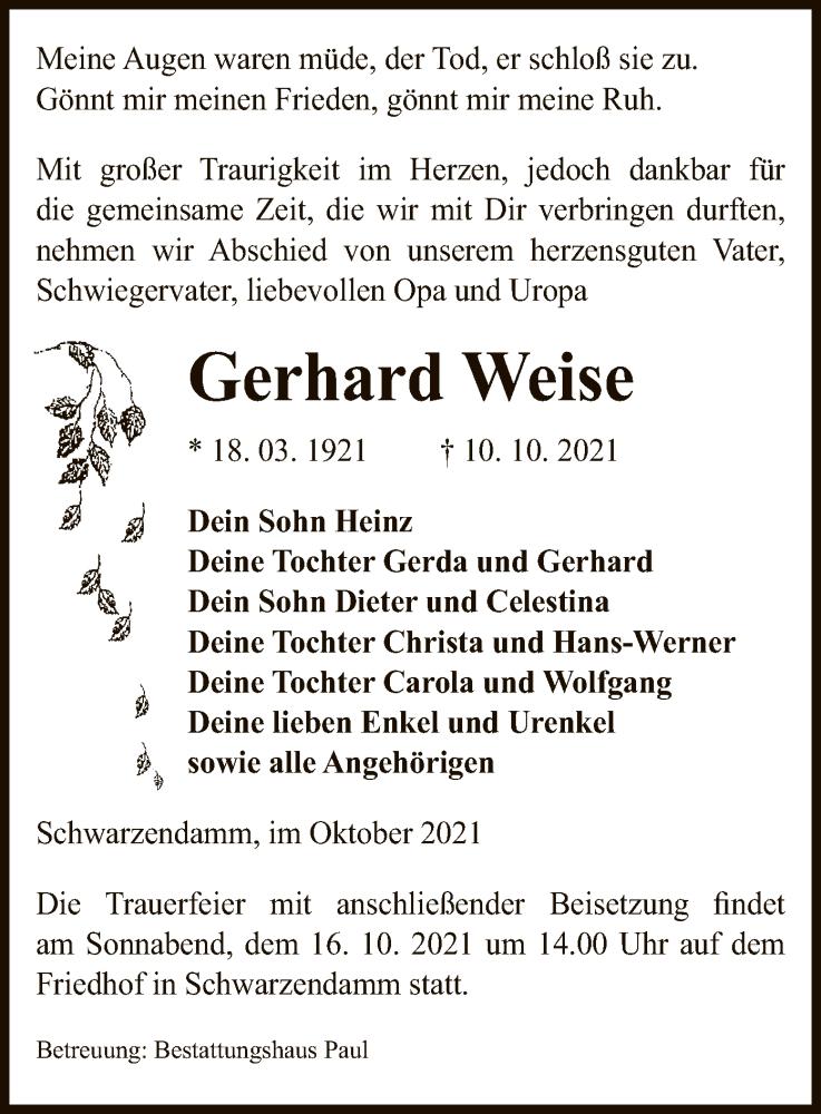 Traueranzeige für Gerhard Weise vom 13.10.2021 aus UEL