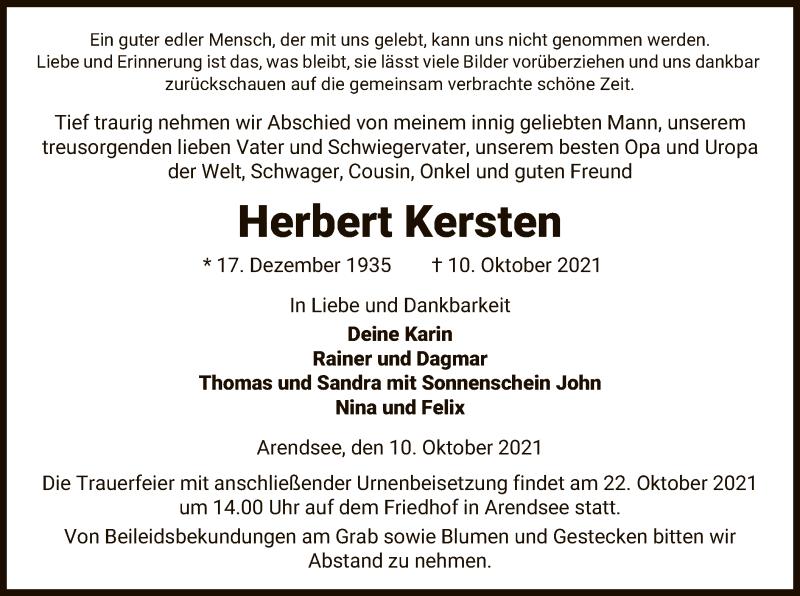 Traueranzeige für Herbert Kersten vom 13.10.2021 aus UEL