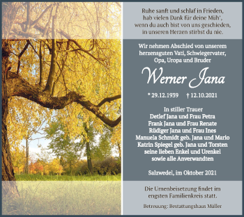 Traueranzeige von Jana Werner von UEL