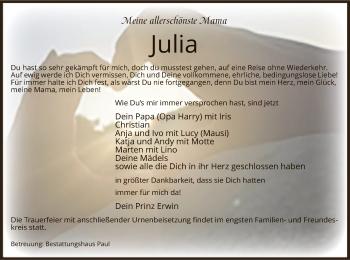 Traueranzeige von Julia  von UEL