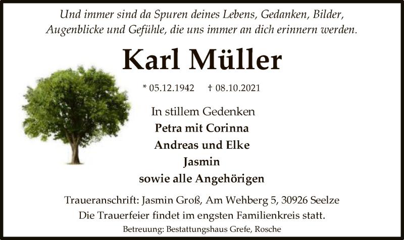 Traueranzeige für Karl Müller vom 13.10.2021 aus UEL
